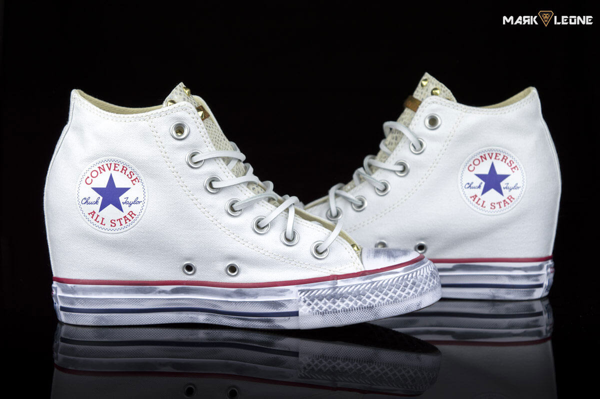 57f7ff12ddf8ad Handmade Converse Chuck Taylor Lux Mid Leather Snakeskin by Mark Leone ®