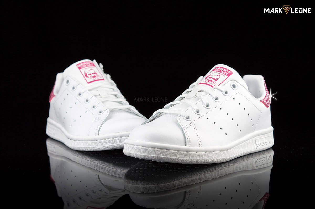 Handmade Adidas Stan Smith Swarovski Crystal Fuchsia by Mark Leone ®. Zoom  images Open Video