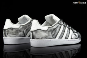 Custom Adidas Super Star Hand Painted Glass Vintage by Mark Leone ®