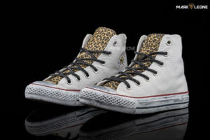 Handmade Converse All Star High Top Leather Leopard by Mark Leone ®