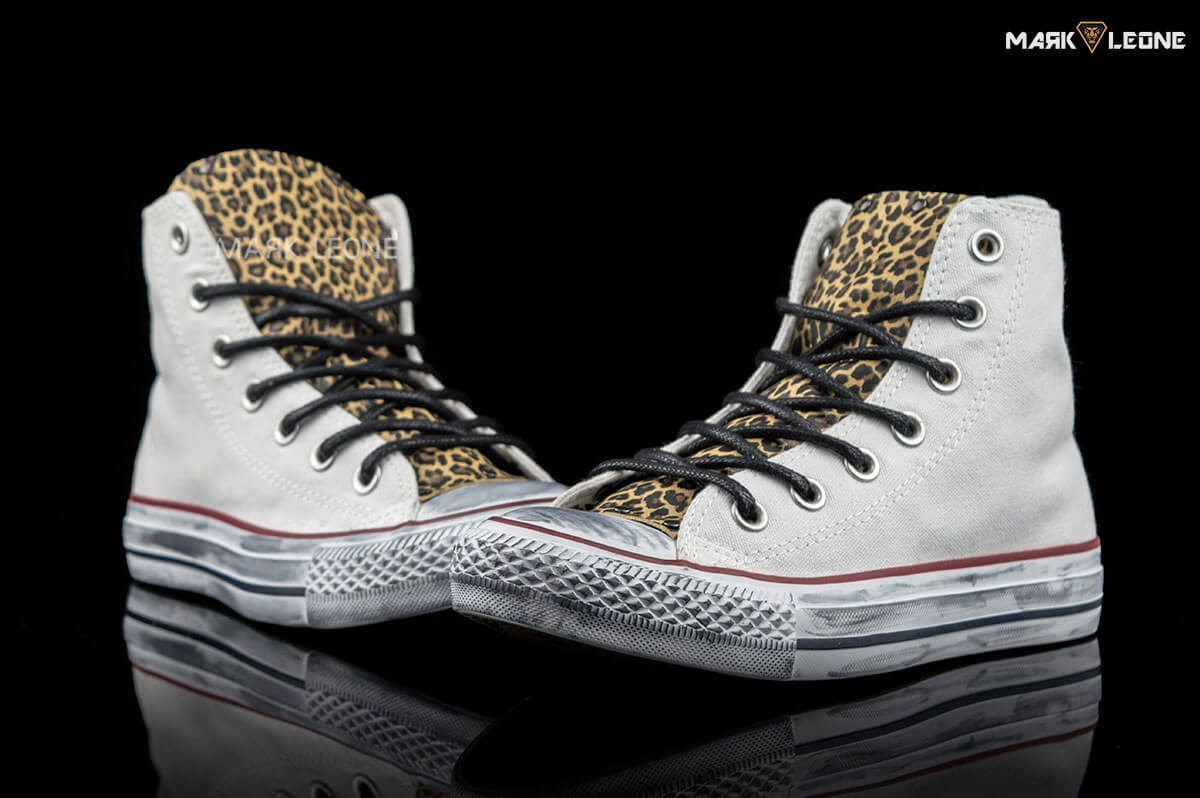 22vq4321 Womens Ct All Star Hi Zip Leopard Trainers Co1947 By Converse Color Brown