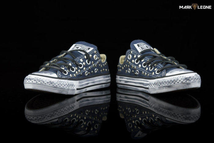 Handmade Converse All Star Low Blue Navy Studded by Mark Leone ®