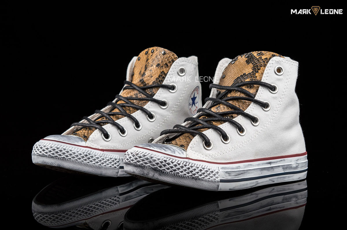 c84495b53909 Handmade Converse All Star Hight Top Leather Tongue Snakeskin by Mark Leone  ®