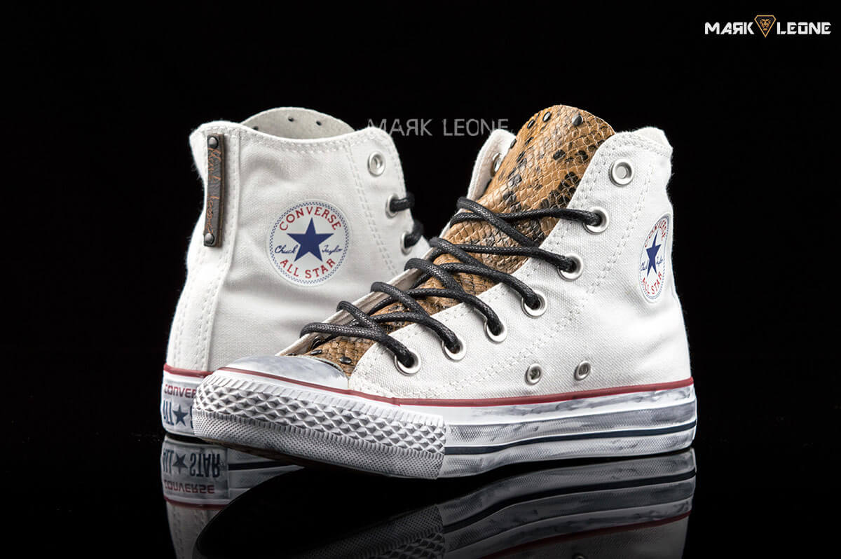 58c4025549cb Handmade Converse All Star Hight Top Leather Tongue Snakeskin by Mark Leone  ®