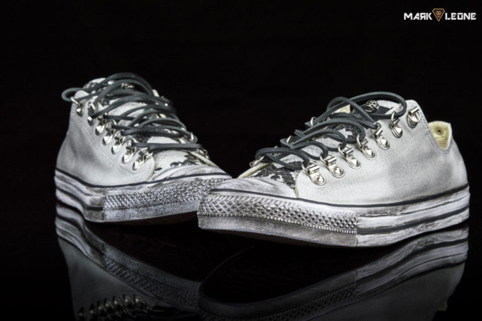 Handmade Converse All Star Low Top Studs Leather Snakeskin Vintage by Mark Leone ®