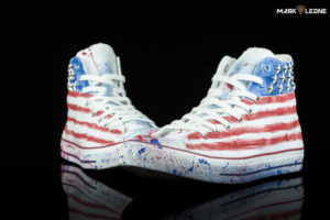 Hand Painted Converse All Star American Flag Studded by Mark Leone ®