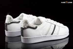 Handmade Adidas Super Star Swarovski Crystal B&W by Mark Leone ®