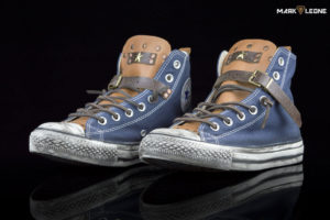 Handmade Converse All Star Blue Navy Leather Studs by Mark Leone ®