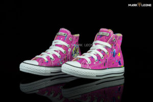 Handmade Converse All Star High Top Fuchsia Painting Studs by Mark Leone ®