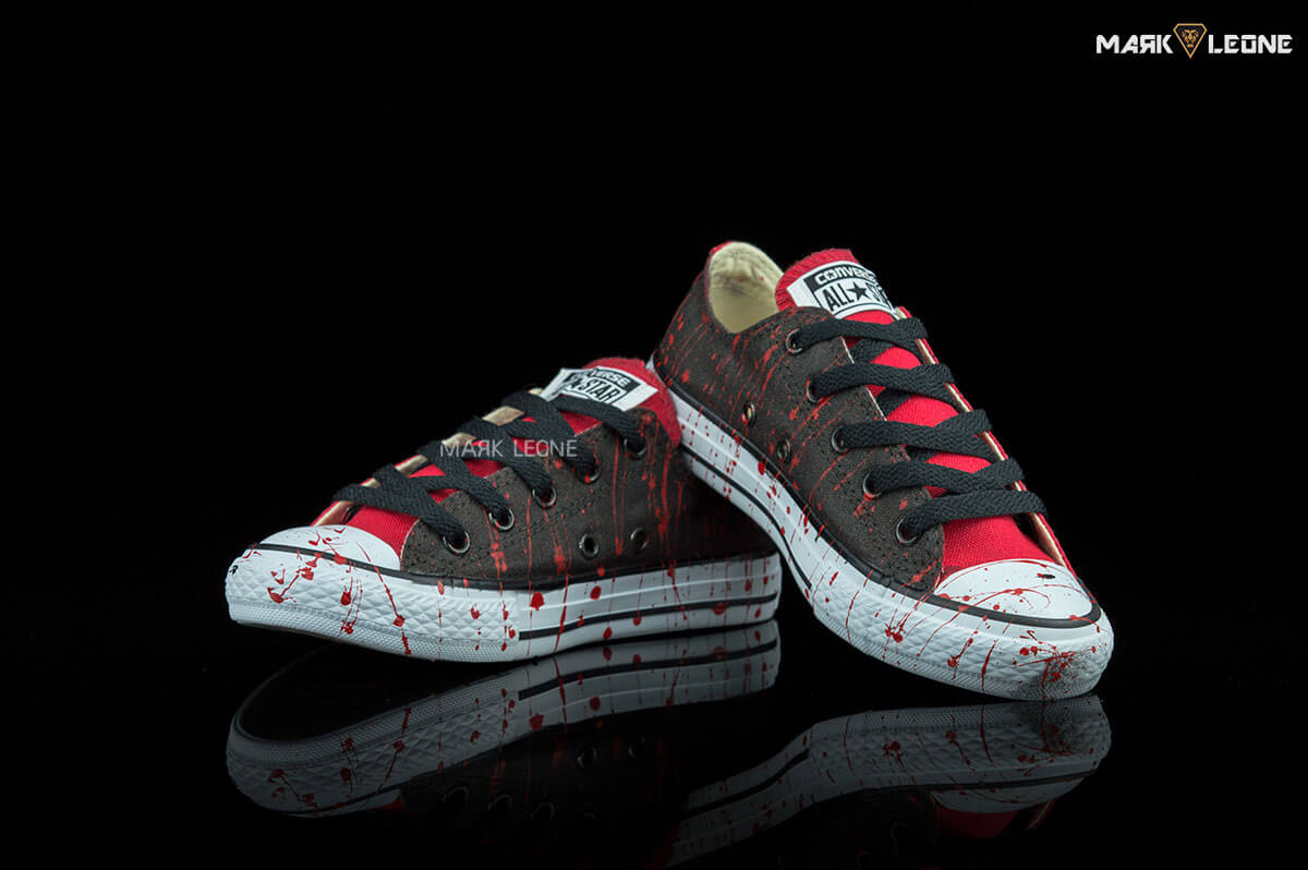 be48e4527dc5 Handmade Converse All Star Low Top Red Black Painting by Mark Leone ®