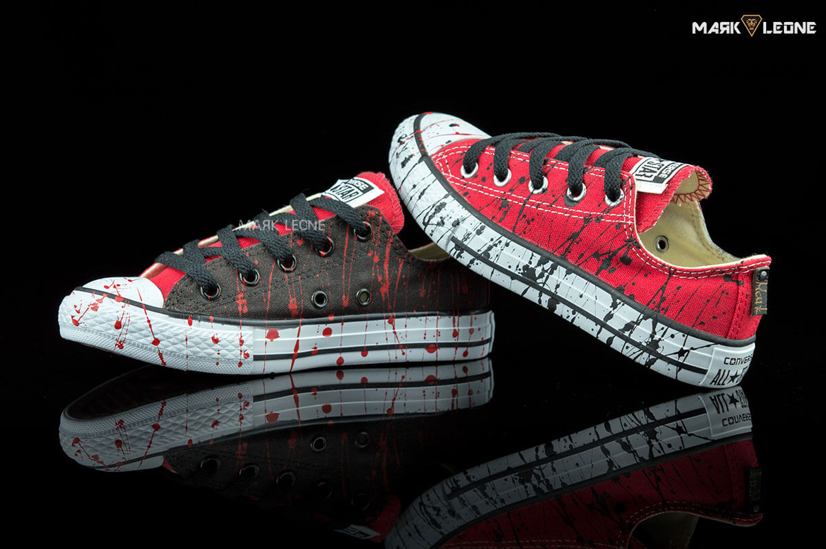 bc51f0ea63583a Handmade Converse All Star Low Top Red Black Painting by Mark Leone ®