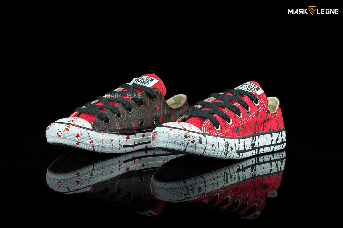 650699e5efdd80 Handmade Converse All Star Low Top Red Black Painting by Mark Leone ®