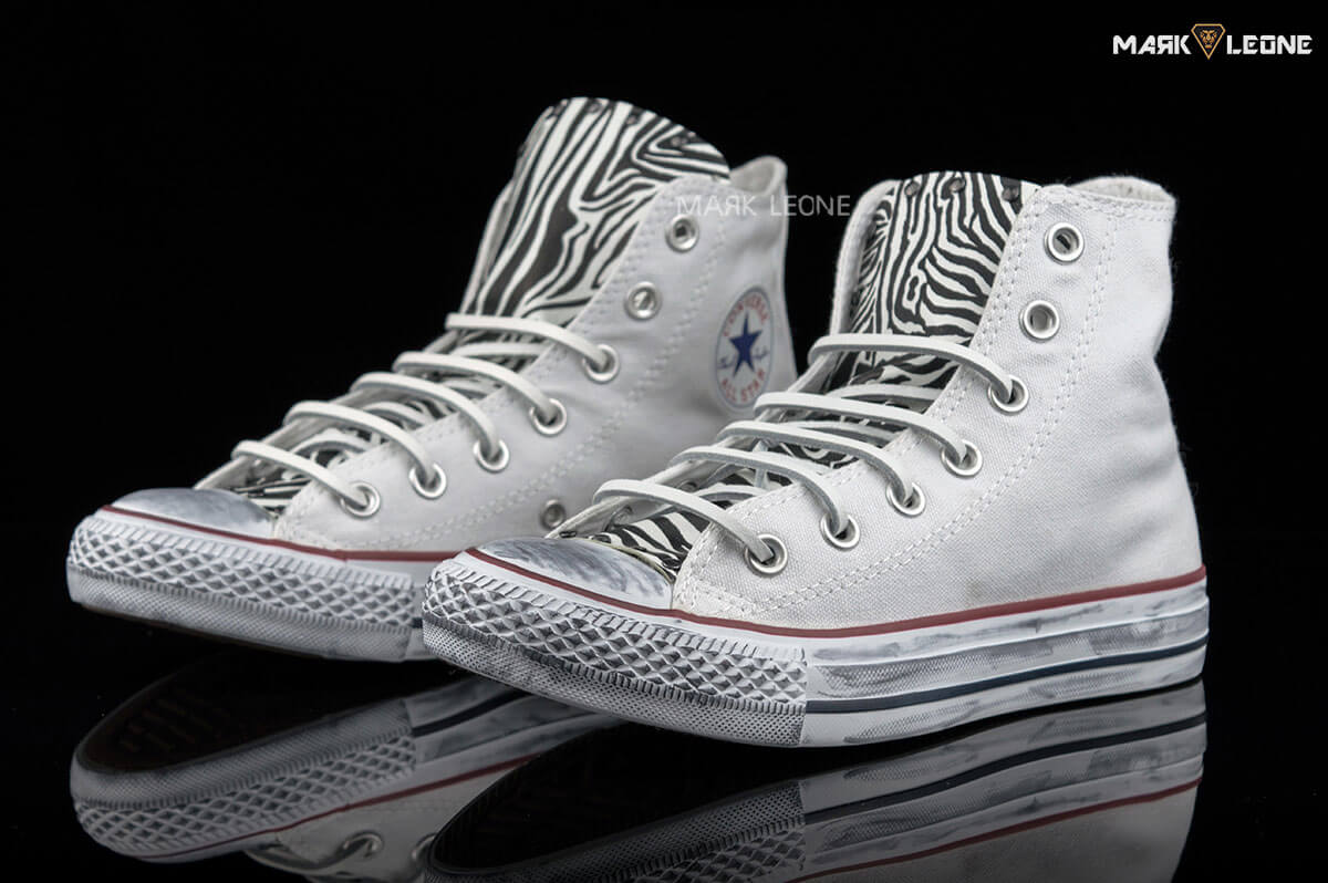495825303cfd Handmade Converse Chuck Taylor Leather Tongue Zebra by Mark Leone ®
