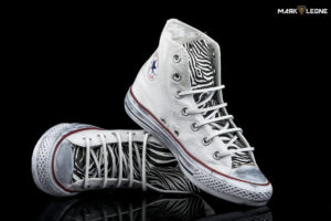 Handmade Converse Chuck Taylor Leather Tongue Zebra by Mark Leone ®