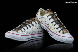 Handmade Converse Optical White Leather Snake Studs by Mark Leone ®