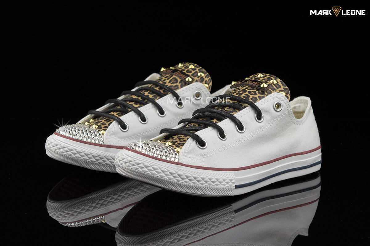 21d6b46394 Handmade Converse Optical White Swarovski Leather Leopard by Mark Leone ®