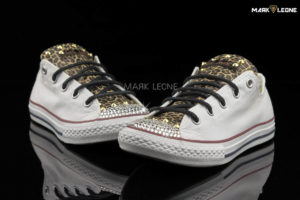 Handmade Converse Optical White Swarovski Leather Leopard by Mark Leone ®
