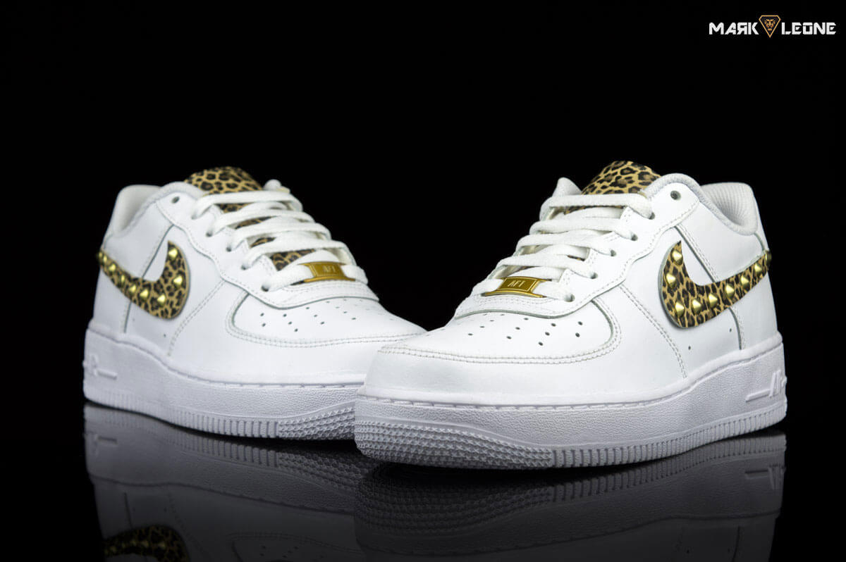 premium selection 1c8e7 4af8c Handmade Nike Air Force 1 Leather Leopard Studs by Mark Leone ®