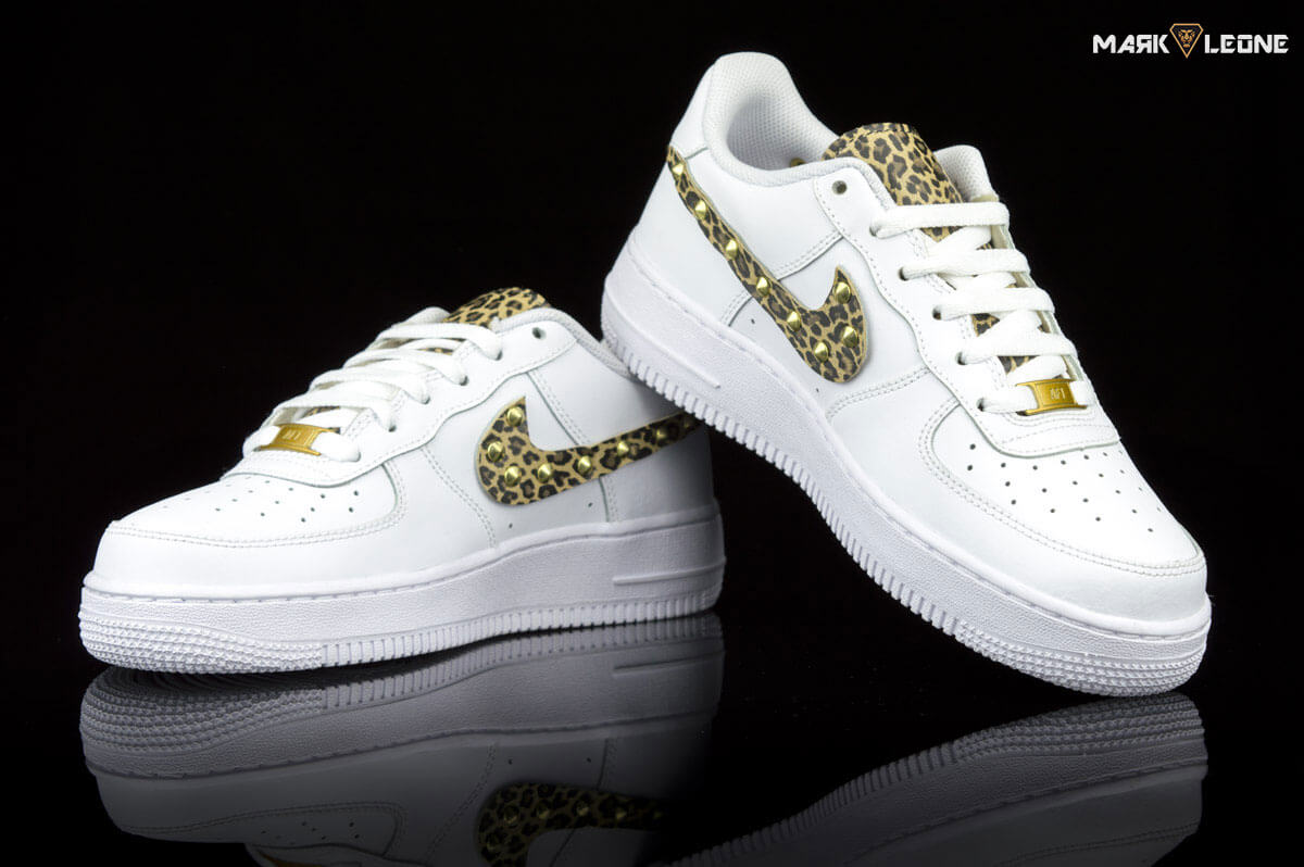handmade nike air force 1 leather leopard studs mark leone. Black Bedroom Furniture Sets. Home Design Ideas