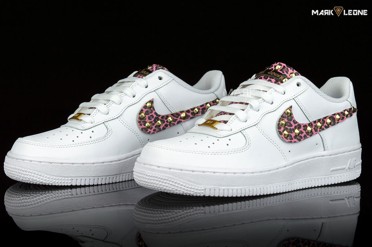 Handmade Nike Air Force 1 Leather Pink Leopard Studs by Mark Leone ® 67641db3d227