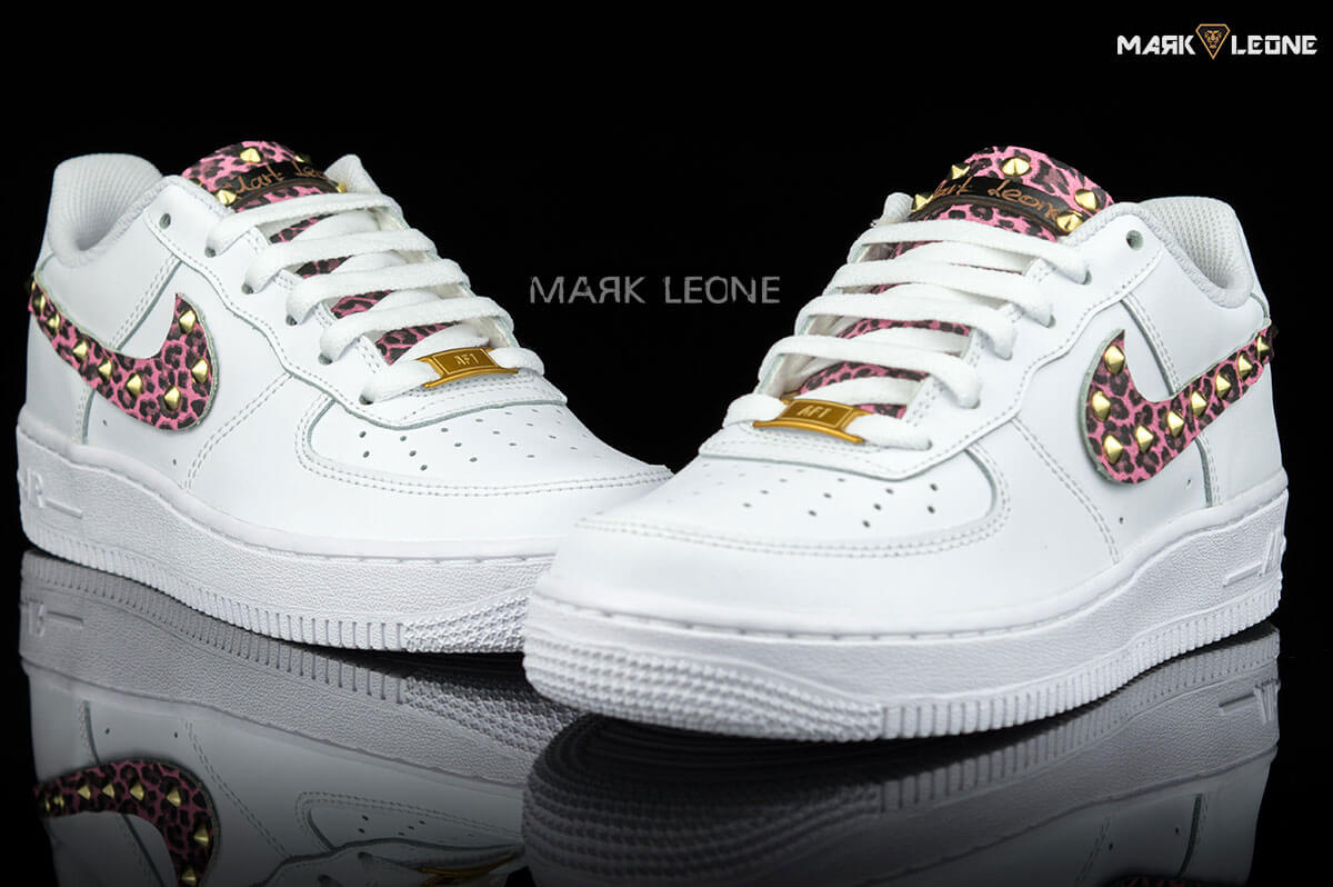newest 7b50f 909ce Handmade Nike Air Force 1 Leather Pink Leopard Studs by Mark Leone ®
