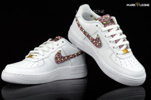 Handmade Nike Air Force 1 Leather Pink Leopard Studs by Mark Leone ®