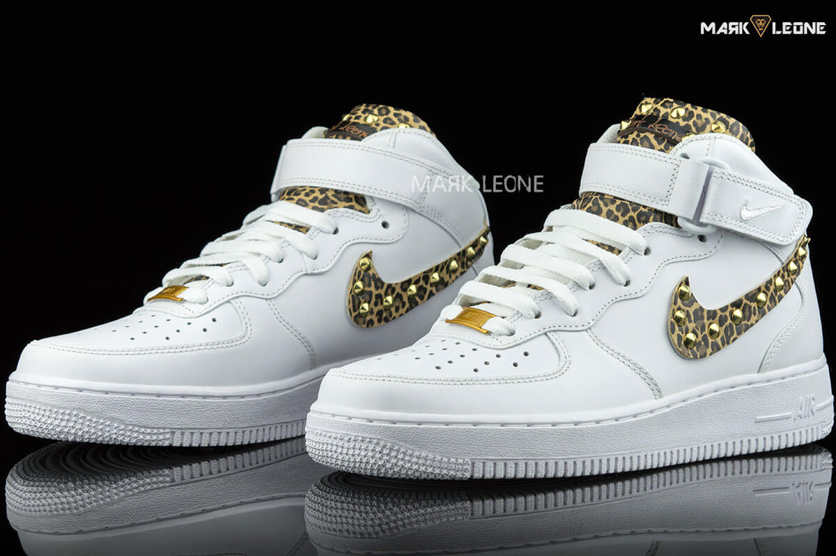 handmade nike air force 1 mid leather leopard mark leone. Black Bedroom Furniture Sets. Home Design Ideas