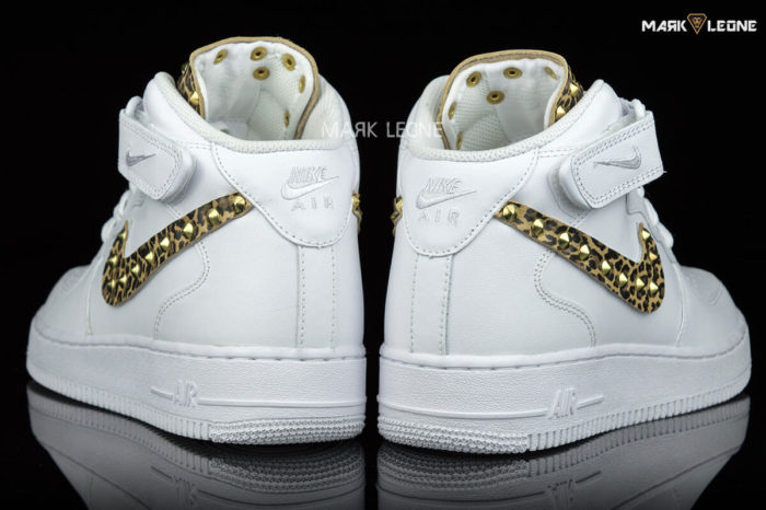 Handmade Nike Air Force 1 Mid Leather Leopard by Mark Leone ®