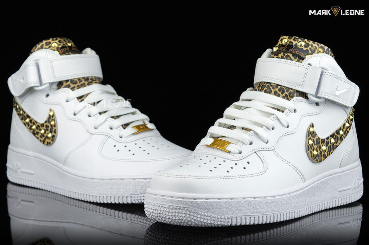 buy online f6cd3 7cfde Handmade Nike Air Force 1 Mid Leather Leopard by Mark Leone ®