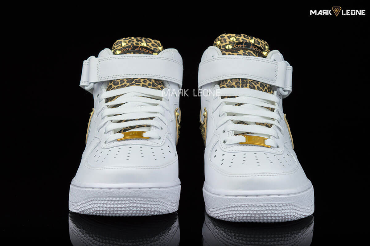 buy online 5526b 5a523 Handmade Nike Air Force 1 Mid Leather Leopard by Mark Leone ®