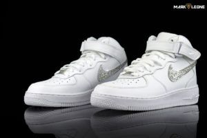 Handmade Nike Air Force 1 White Swarovski Element Crystal by Mark Leone ®