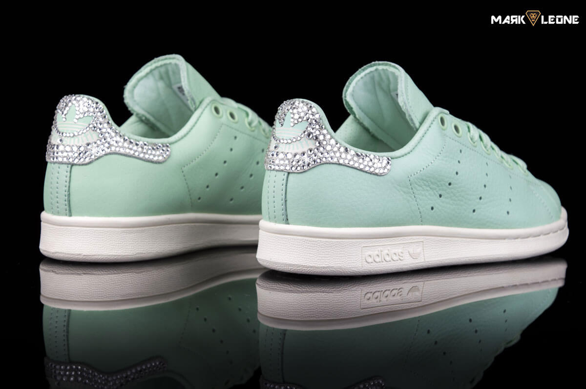 Custom Adidas Stan Smith Frozen Green Swarovski Crystal by Mark Leone ®