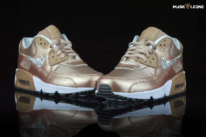 Custom Nike Air Max 90 Metallic Bronze Swarovski Crystal by Mark Leone ®