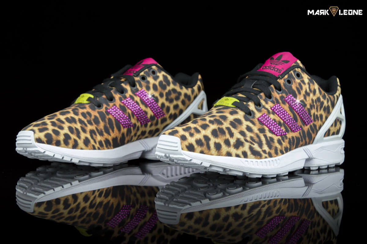 buy popular 118ac 17bee Custom Adidas ZX Flux Torsion Leaopard Swarovski Crystal Element by Mark  Leone ®