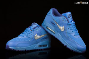 Custom Nike Air Max 90 GS Deep Royal Blue Swarovski Crystal by Mark Leone ®