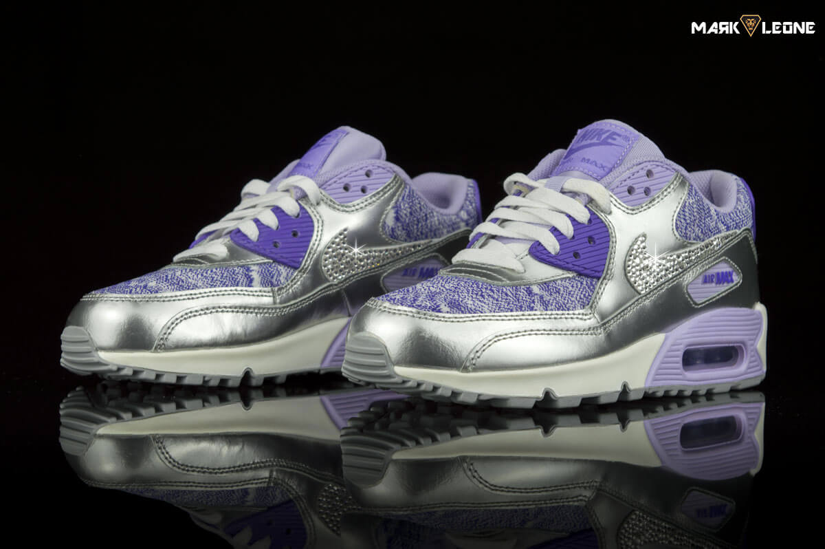 Custom Nike Air Max 90 Swarovski Crystal 2007 GS by Mark Leone ® 5a2a3ce031
