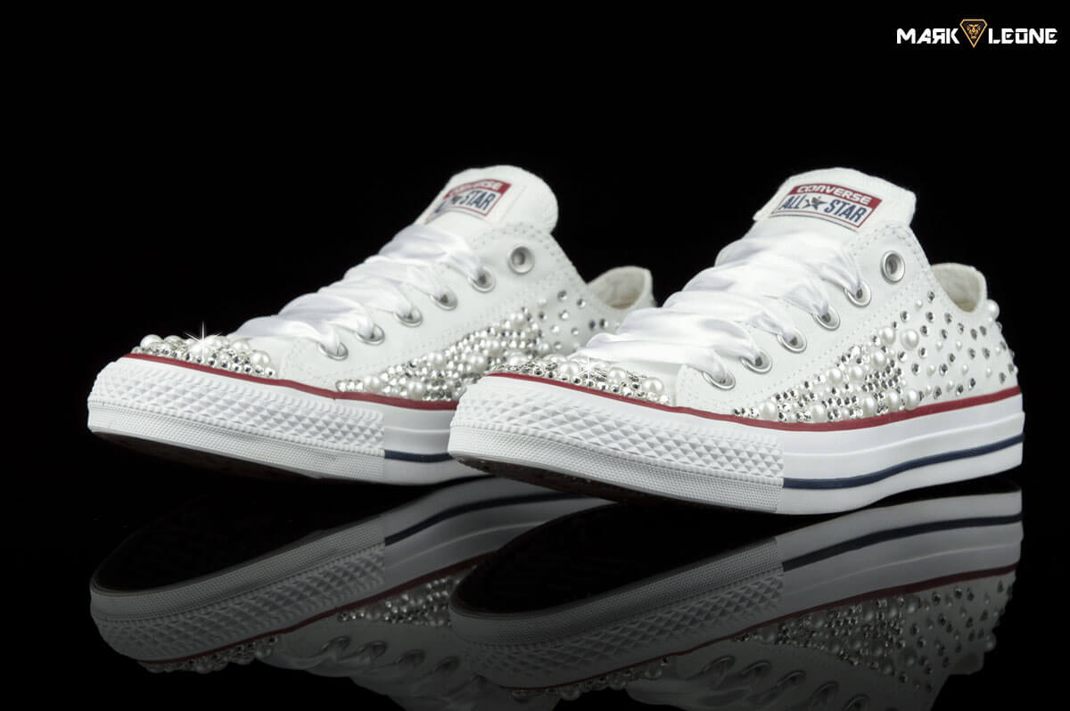 Handmade Converse Low Top Swarovski Pearls Bling by Mark Leone ® 66d1bec17bb1