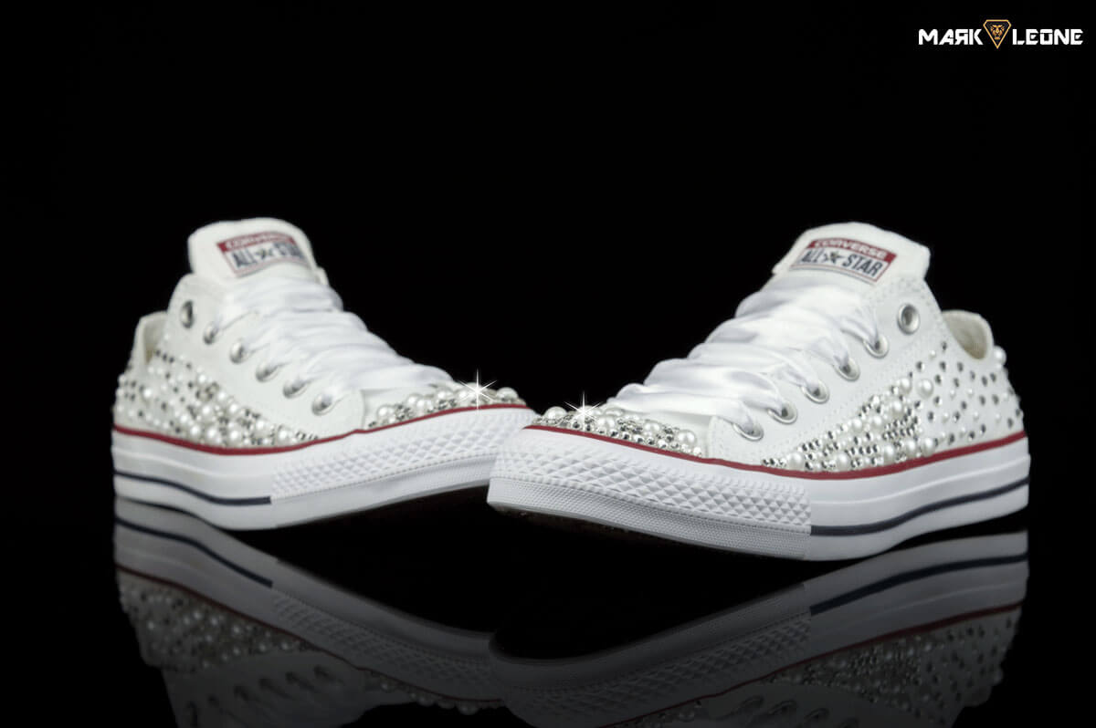 ee0f06508 Handmade Converse Low Top Swarovski Pearls Bling by Mark Leone ®