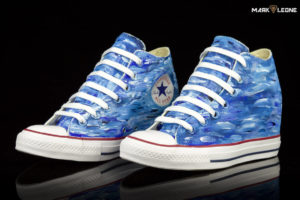 Hand-Painted Converse Chuck Taylor Lux Mid Painting Colour Waves by Mark Leone ®