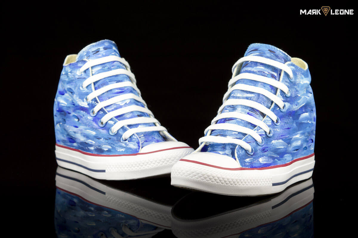 5ab81259232 Hand-Painted Converse Chuck Taylor Lux Mid Painting Colour Waves by Mark  Leone ®