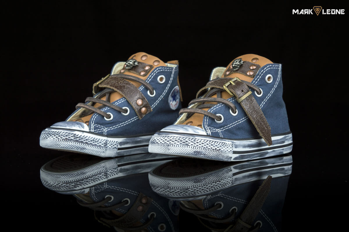 279a6af1b3893 Handmade Converse All Star Bluejean Leather Studs Skulls by Mark Leone ®