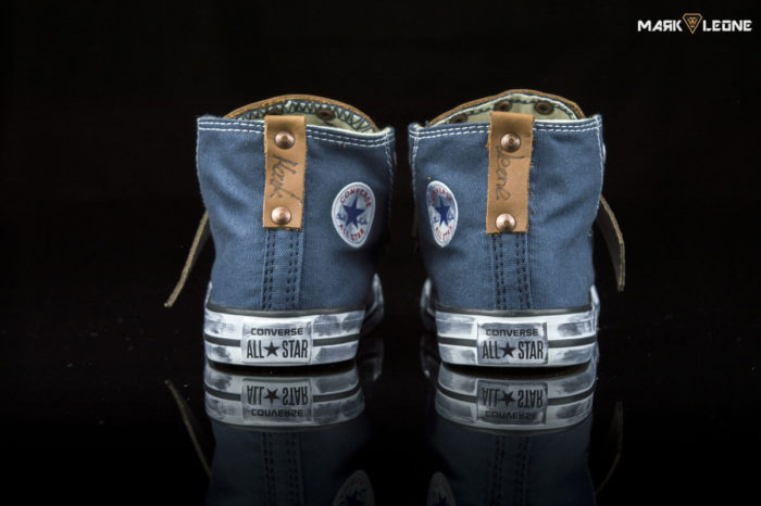 Handmade Converse All Star Bluejean Leather Studs Skulls by Mark Leone ®