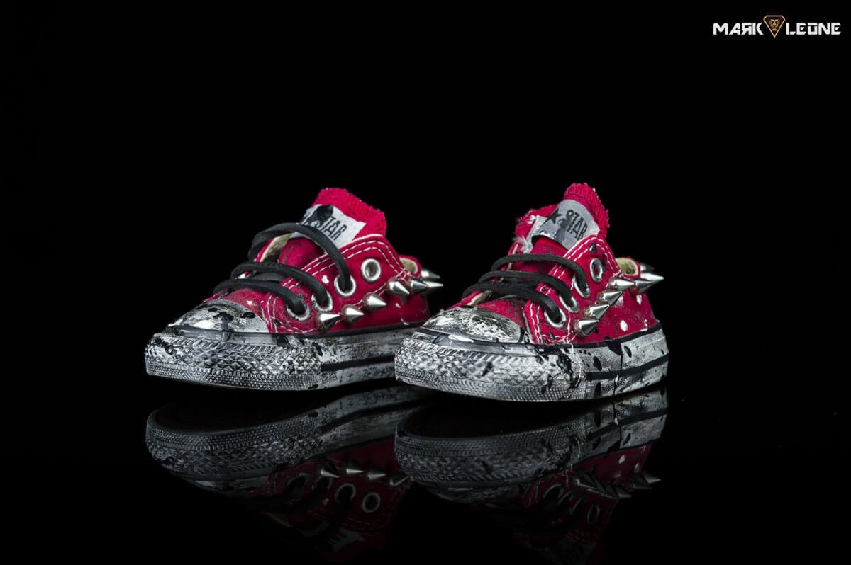 3b3a620a8a6b Custom Converse All Star Low Top Red Hand-Painted Spikes For Kids