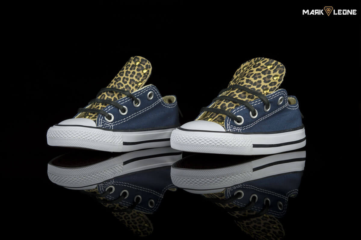 a7ce00007bc3 Handmade kids shoes Custom Converse Low Top Leather Leopard Tongue