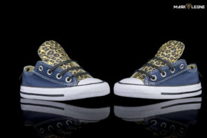 Handmade kids shoes Custom Converse Low Top Leather Leopard Tongue