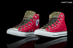 Custom Converse High Top Red Leather Tongue Leopard