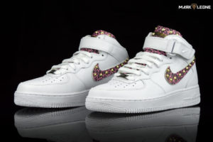 Handmade Nike Air Force 1 Mid Fuchsia Leather Leopard by Mark Leone ®