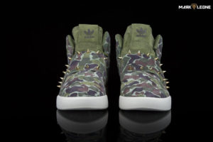 Handmade Adidas Tubular Invader Camouflage Gold Spikes by Mark Leone ®