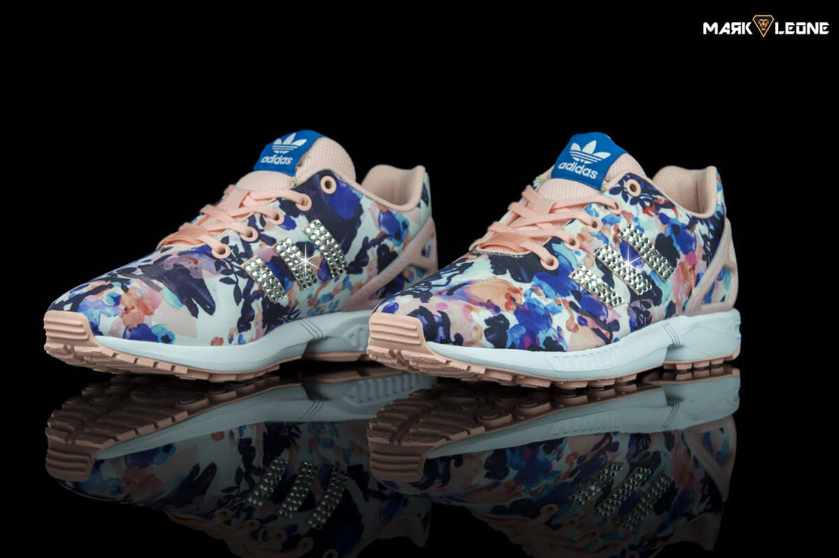 aac1ace2c Handmade Adidas ZX Flux Floral Swarovski Crystal by Mark Leone ®
