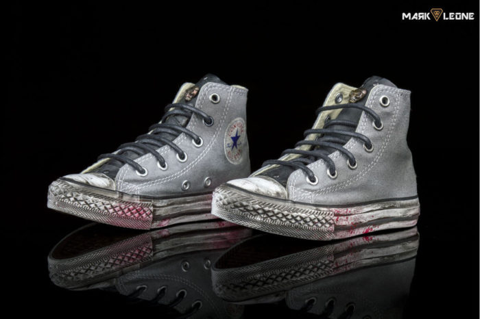 Custom Converse All Star High Top Vintage Leather Tongue Skulls